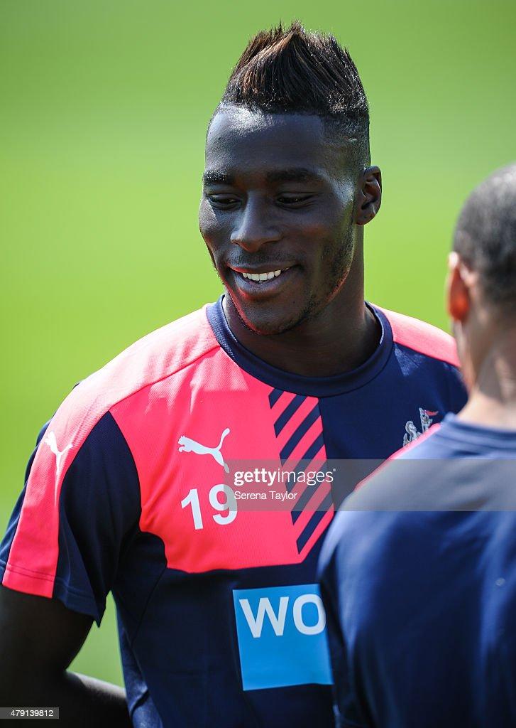 Massadio Haidara smiles during the Newcastle United Pre-Season Training session at The Newcastle United Training Centre on July 1, 2015, in Newcastle upon Tyne, England.