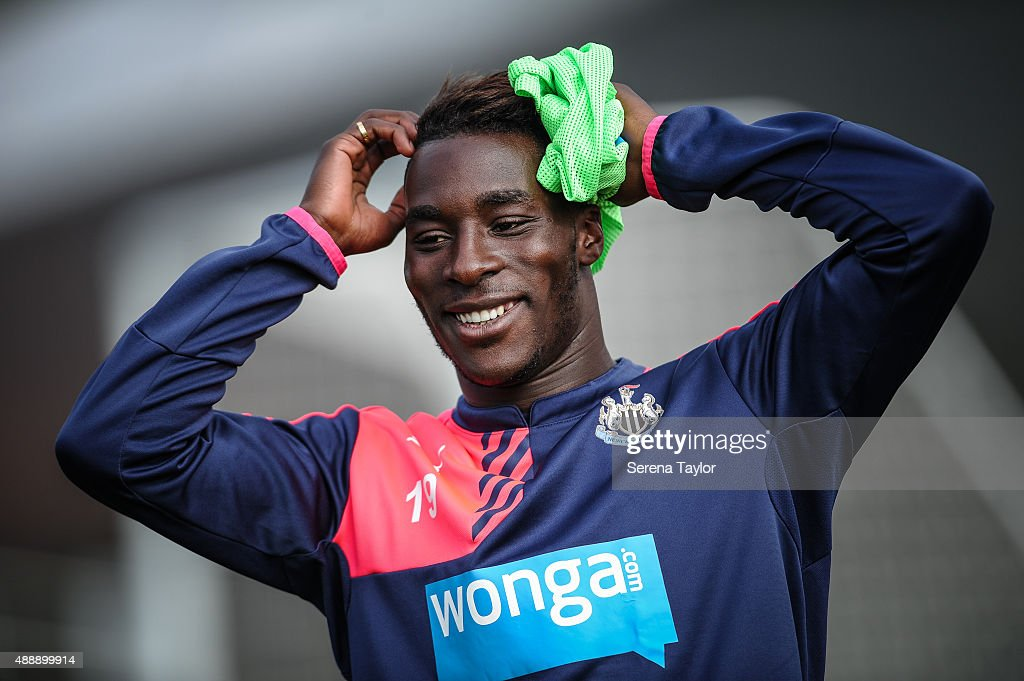 Massadio Haidara smiles whilst holding his hands on his head during the Newcastle United Training session at The Newcastle United Training Centre on September 18, 2015, in Newcastle upon Tyne, England.