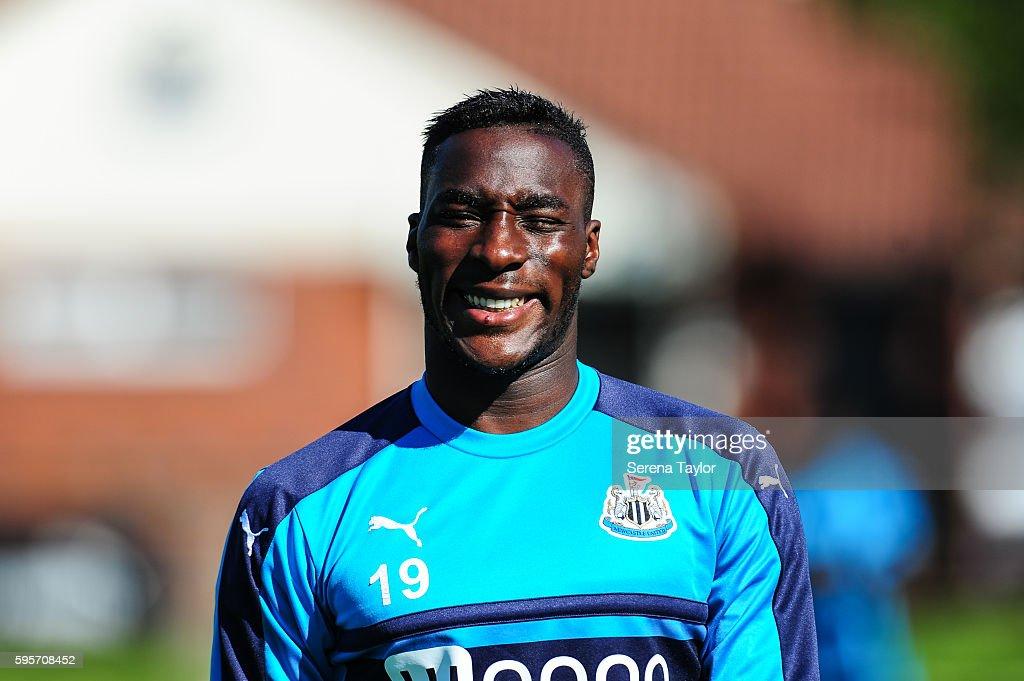 Massadio Haidara walks outside smiling as he returns to training during the Newcastle United Training Session at The Newcastle United Training Centre...