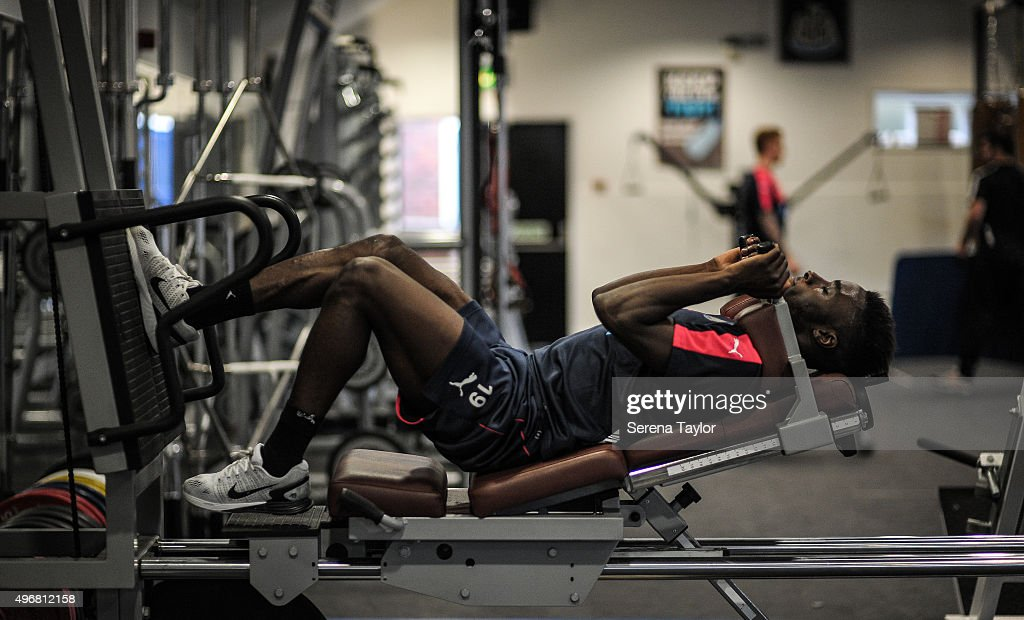 Massadio Haidara works out in the gym during the Newcastle United Training session at The Newcastle United Training Centre on November 12, 2015, in Newcastle upon Tyne, England.