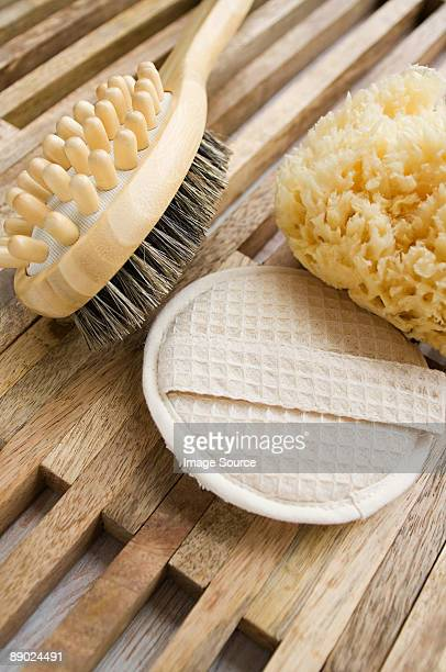 Massage brush loofah mitt and sponge