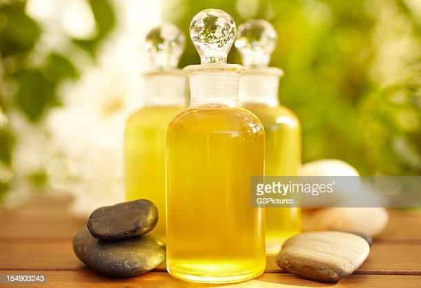 Massage oil bottles at spa
