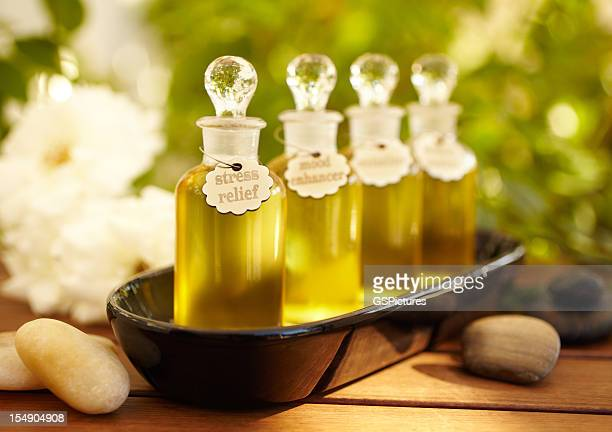 Massage oil bottles at spa