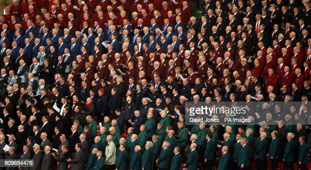 Massed choirs sing during the International match at the Millennium Stadium Cardiff