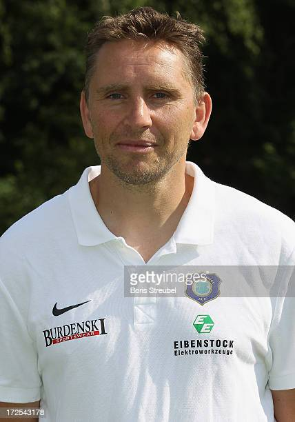 Masseur Jens Borchert of Aue poses during the Second Bundesliga team presentation of Erzgebirge Aue on June 2 2013 in Aue Germany