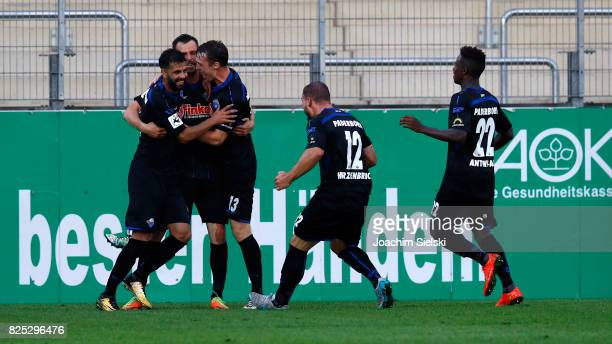 Massih Wassey Koen van der Biezen Sebastian Schonlau Felix Herzenbruch and Christopher AntwiAdjej of Paderborn celebration the goal 12 for Paderborn...