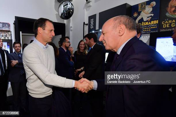 Massimiliano Allegri and Giuseppe Marotta during the Juventus 120 Years Exhibition Opening at Juventus Museum on November 9 2017 in Turin Italy