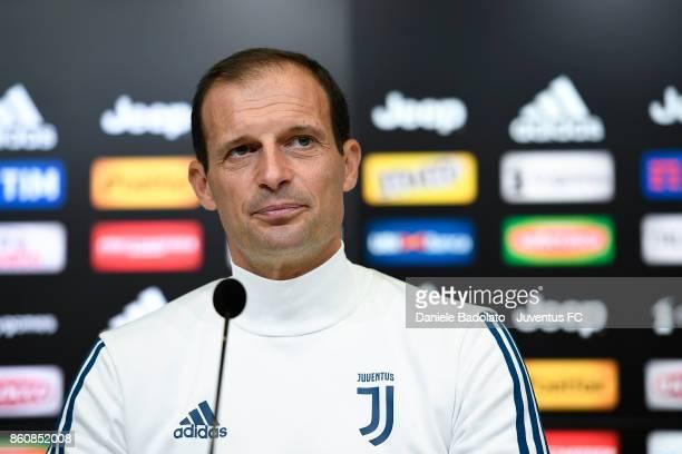 Massimiliano Allegri during a Juventus press conference at Juventus Center Vinovo on October 13 2017 in Vinovo Italy