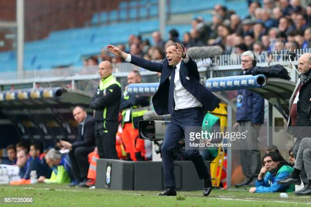 Massimiliano Allegri head coach of Juvenrtus FC gestures during the Serie A football match between UC Sampdoria and Juventus FC Juventus FC wins 10...