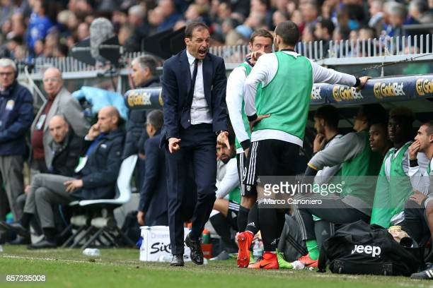 Massimiliano Allegri head coach of Juvenrtus FC gets angry with his players during the Serie A football match between UC Sampdoria and Juventus FC...