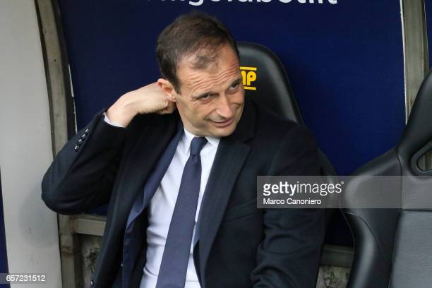 Massimiliano Allegri head coach of Juvenrtus FC looks on before the Serie A football match between UC Sampdoria and Juventus FC Juventus FC wins 10...