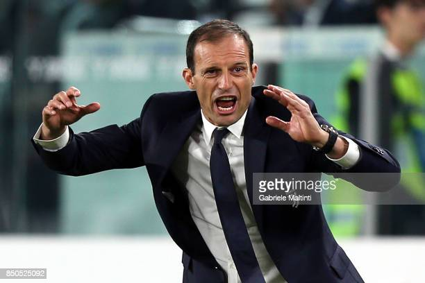 Massimiliano Allegri head coach of Juventus FC gestures during the Serie A match between Juventus and ACF Fiorentina on September 20 2017 in Turin...