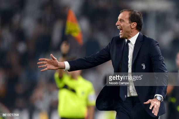 Massimiliano Allegri head coach of Juventus FC gestures during the Serie A football match between Juventus FC and SS Lazio SS Lazio wins 21 over...