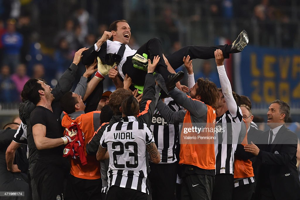 <a gi-track='captionPersonalityLinkClicked' href=/galleries/search?phrase=Massimiliano+Allegri&family=editorial&specificpeople=3470667 ng-click='$event.stopPropagation()'>Massimiliano Allegri</a> head coach of Juventus FC is lifted by his players at the end of the Serie A match between UC Sampdoria and Juventus FC at Stadio Luigi Ferraris on May 2, 2015 in Genoa, Italy.