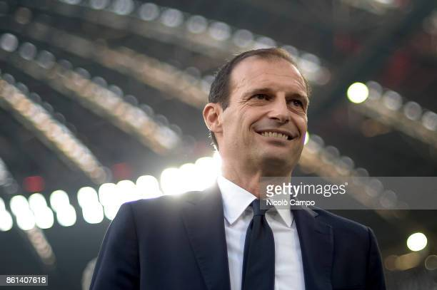Massimiliano Allegri head coach of Juventus FC looks on prior to the Serie A football match between Juventus FC and SS Lazio SS Lazio wins 21 over...