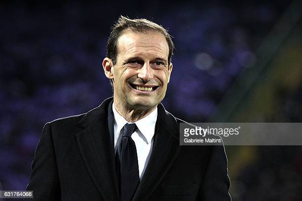 Massimiliano Allegri head coach of Juventus FC reacts during the Serie A match between ACF Fiorentina and Juventus FC at Stadio Artemio Franchi on...