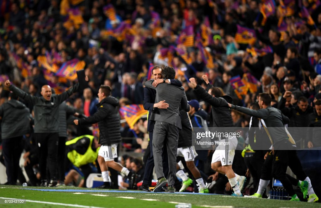 Massimiliano Allegri, Manager of Juventus and Luis Enrique manager of Barcelona embrace after the UEFA Champions League Quarter Final second leg match between FC Barcelona and Juventus at Camp Nou on April 19, 2017 in Barcelona, Spain.