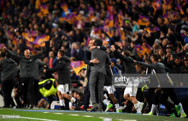 Massimiliano Allegri Manager of Juventus and Luis Enrique manager of Barcelona embrace after the UEFA Champions League Quarter Final second leg match...