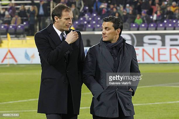 Massimiliano Allegri manager of Juventus FC and Vincenzo Montella manager of ACF Fiorentina during the TIM cup match between ACF Fiorentina and...