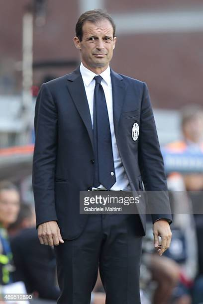 Massimiliano Allegri manager of Juventus FC look on during the Serie A match between Genoa CFC and Juventus FC at Stadio Luigi Ferraris on September...