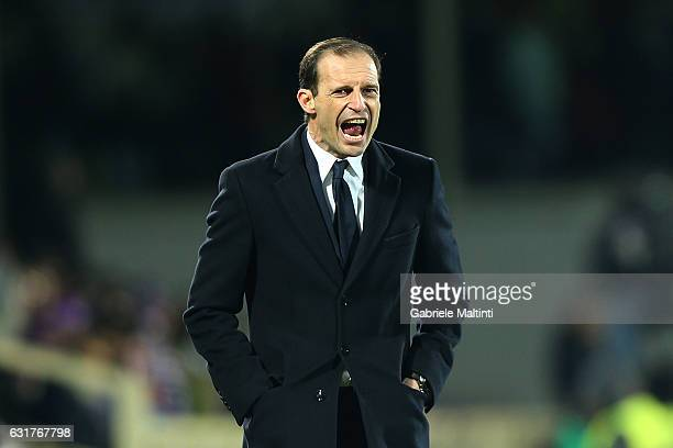 Massimiliano Allegri manager of Juventus FC reacts during the Serie A match between ACF Fiorentina and Juventus FC at Stadio Artemio Franchi on...