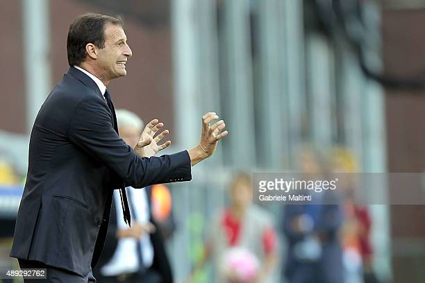 Massimiliano Allegri manager of Juventus FC shouts instructions to his players during the Serie A match between Genoa CFC and Juventus FC at Stadio...