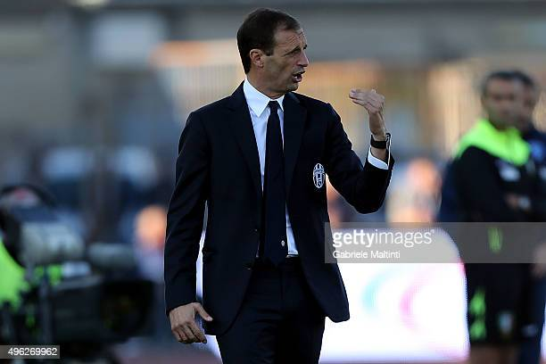 Massimiliano Allegri manager of Juventus FC shouts instructions to his players during the Serie A match between Empoli FC and Juventus FC at Stadio...