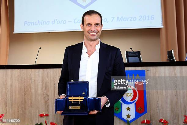 Massimiliano Allegri manager of Juventus FC won the gold coach for the 20142015 season during the 'Panchina D'oro season 20142015' at Coverciano on...