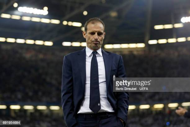 Massimiliano Allegri Manager of Juventus looks dejected during the UEFA Champions League Final between Juventus and Real Madrid at National Stadium...