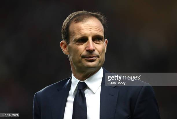Massimiliano Allegri Manager of Juventus looks on prior to the UEFA Champions League Semi Final first leg match between AS Monaco v Juventus at Stade...