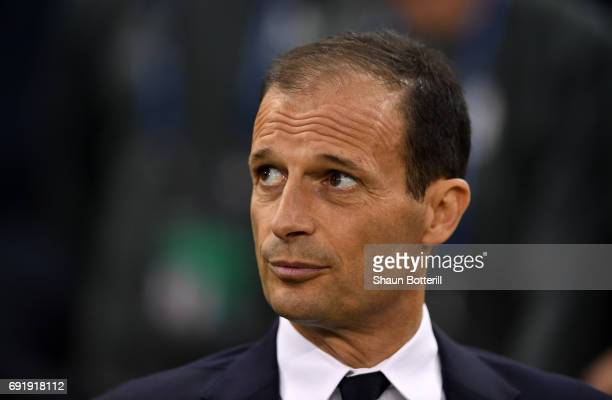 Massimiliano Allegri Manager of Juventus looks on prior to the UEFA Champions League Final between Juventus and Real Madrid at National Stadium of...