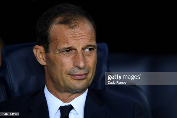 Massimiliano Allegri Manager of Juventus looks on prior to the UEFA Champions League Group D match between FC Barcelona and Juventus at Camp Nou on...