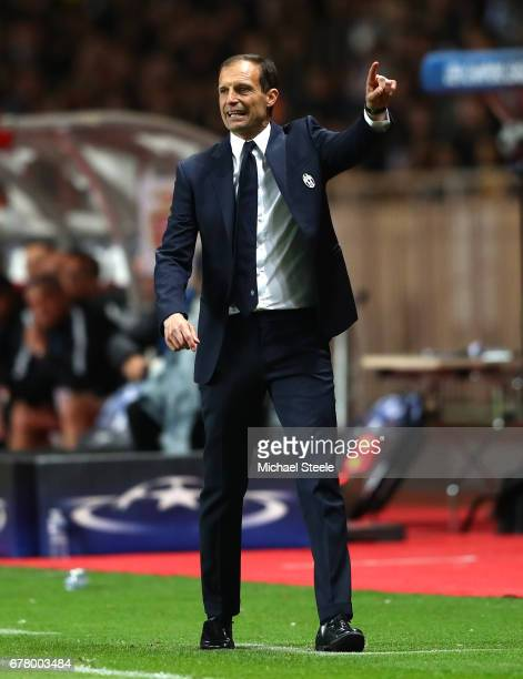 Massimiliano Allegri Manager of Juventus reacts during the UEFA Champions League Semi Final first leg match between AS Monaco v Juventus at Stade...