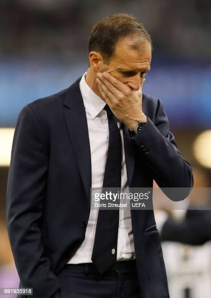 Massimiliano Allegri Manager of Juventus reacts during the UEFA Champions League Final between Juventus and Real Madrid at National Stadium of Wales...