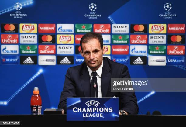 Massimiliano Allegri Manager of Juventus speaks to the media during the Juventus press conference at the Camp Nou on April 18 2017 in Barcelona Spain
