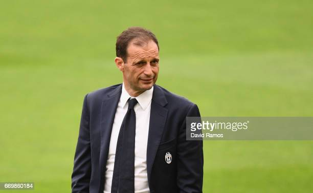 Massimiliano Allegri manager of Juventus takes a look around the pitch prior to the Juventus press conference at the Camp Nou on April 18 2017 in...
