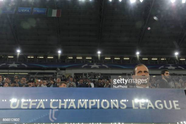 Massimiliano Allegri of Juventus coach in the bench before the Uefa Champions League 20172018 match between FC Juventus and Olympiacos FC at Juventus...