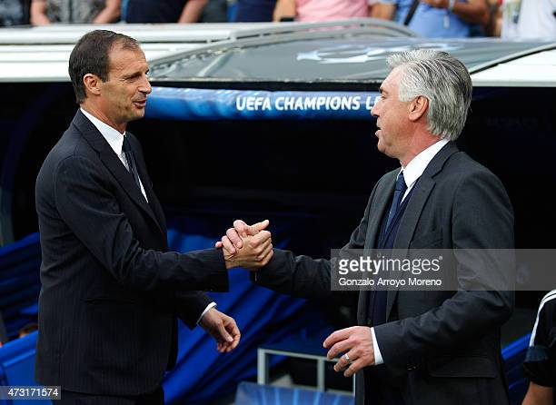Massimiliano Allegri the head coach of Juventus and Carlo Ancelotti the head coach of Real Madrid shake hands prior to kickoff during the UEFA...