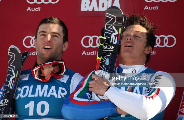 Massimiliano Blardone of Italy takes 1st place and Davide Simoncelli of Italy takes 2nd place during the Audi FIS Alpine Ski World Cup Men's Giant...