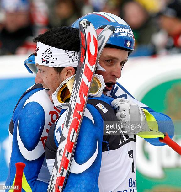 BAD KLEINKIRCHHEIM AUSTRIA DECEMBER 08 Massimiliano Blardone of Italy takes 1st place and Manfred Moelgg of Italy takes 2nd place during the Alpine...