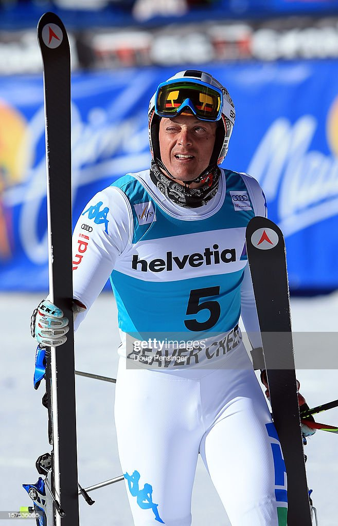 Massimiliano Blardone of Itay looks on after finishing ninth in the men's Giant Slalom at the Audi FIS World Cup on December 2, 2012 in Beaver Creek, Colorado.