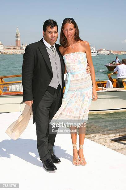 Massimiliano Ferruzzi and Wife attend the wedding of Tamara Beckwith and Giorgio Veroni held at the Redentore church on August 272007 in Venice