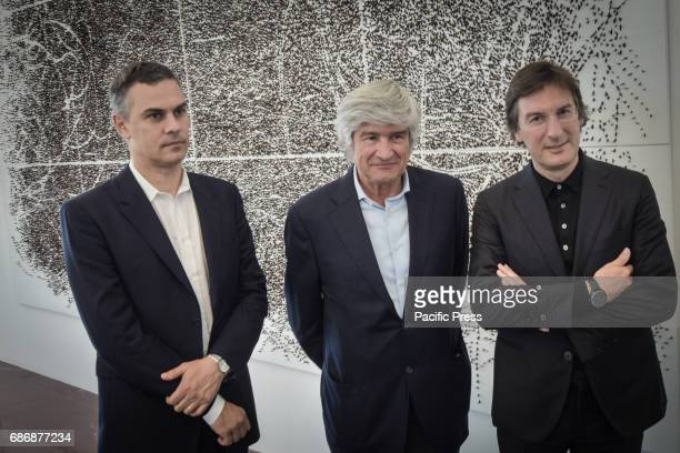 Massimiliano Gioni Giuseppe Penone Pietro Beccari during the press conference in the framework of exhibition 'Matrice' by Giuseppe Penone for the...
