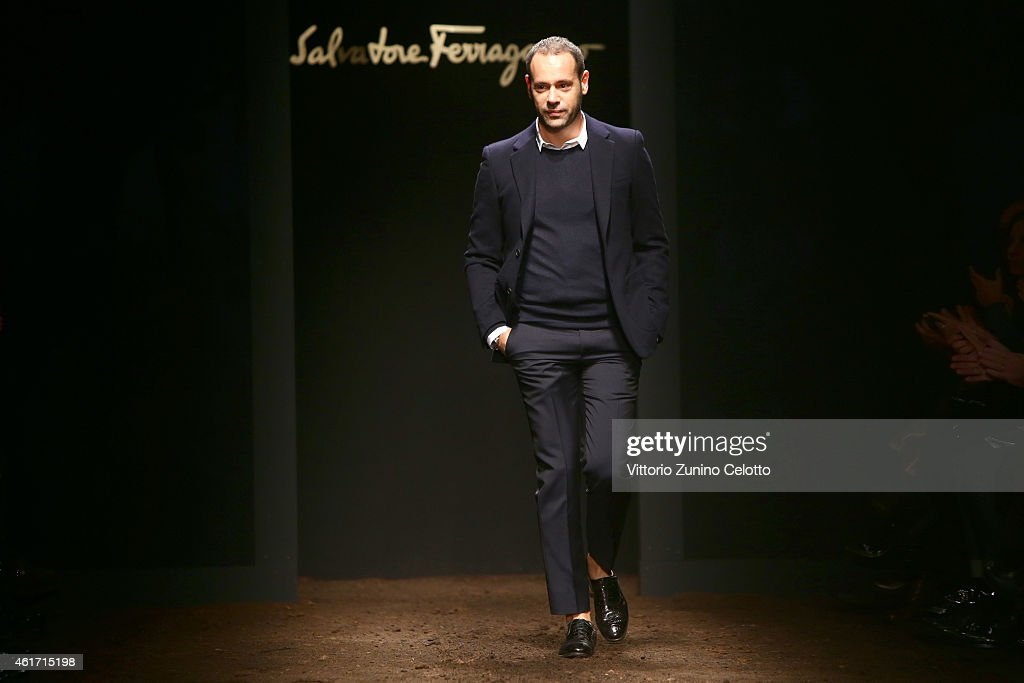 <a gi-track='captionPersonalityLinkClicked' href=/galleries/search?phrase=Massimiliano+Giornetti&family=editorial&specificpeople=3951751 ng-click='$event.stopPropagation()'>Massimiliano Giornetti</a> walks the runway after his Salvatore Ferragamo show as a part of Milan Menswear Fashion Week Fall Winter 2015/2016 on January 18, 2015 in Milan, Italy.