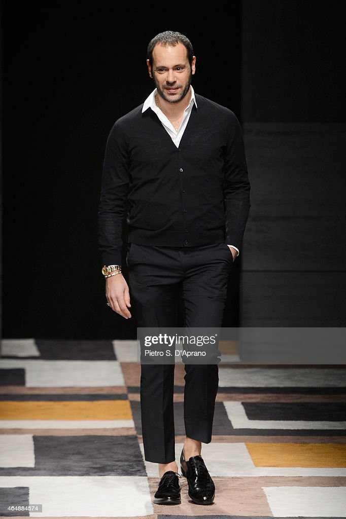 <a gi-track='captionPersonalityLinkClicked' href=/galleries/search?phrase=Massimiliano+Giornetti&family=editorial&specificpeople=3951751 ng-click='$event.stopPropagation()'>Massimiliano Giornetti</a> walks the runway at the Salvatore Ferragamo show during the Milan Fashion Week Autumn/Winter 2015 on March 1, 2015 in Milan, Italy.