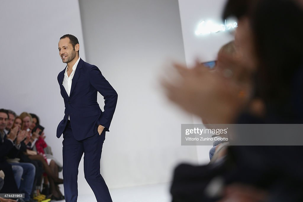 <a gi-track='captionPersonalityLinkClicked' href=/galleries/search?phrase=Massimiliano+Giornetti&family=editorial&specificpeople=3951751 ng-click='$event.stopPropagation()'>Massimiliano Giornetti</a> walks the runway during the Salvatore Ferragamo show as part of Milan Fashion Week Womenswear Autumn/Winter 2014 on February 23, 2014 in Milan, Italy.