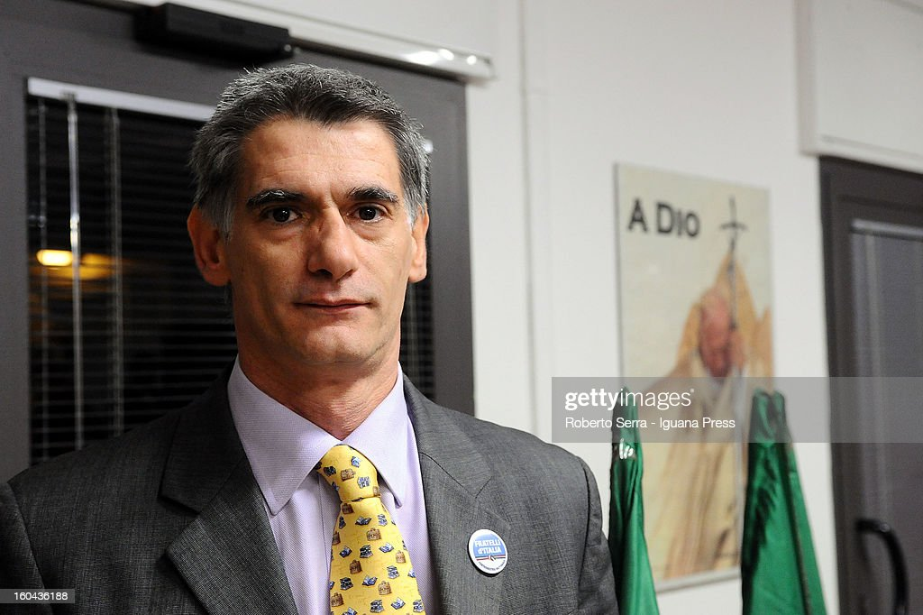 Massimiliano Mazzanti candidate in next political elections to Italian Parliament attends a meeting with his supporters of Fratelli d'Italia party at their electoral headquarters on January 31, 2013 in Bologna, Italy. The general election in Italy is Febrary 24-25.