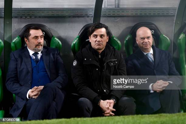 Massimiliano Mirabelli Vincenzo Montella and Marco Fassone look on prior to the Serie A football match between US Sassuolo and AC Milan AC Milan won...