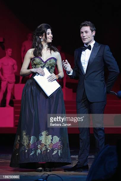 Massimiliano Ossino and Benedetta Rinaldi attend the exclusive Ballo della Cavalchina at Fenice Theatre on February 18 2012 in Venice Italy