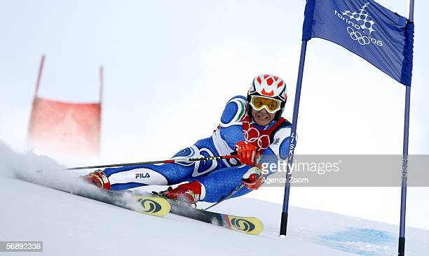 Massimilliano Blardone of Italy competes in the Mens Alpine Skiing Giant Slalom competition on Day 10 of the 2006 Turin Winter Olympic Games on...